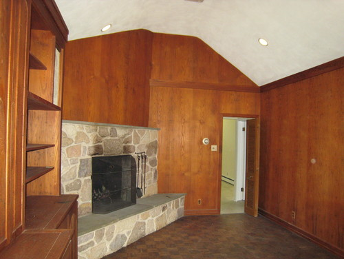 How to update worm treated pine paneling in family room Ways to update wood paneling