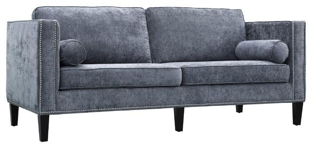 Cooper Velvet Sofa, Gray Transitional Sofas