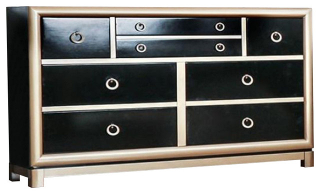 Wooden Dresser With Drawers, Black And Gold.