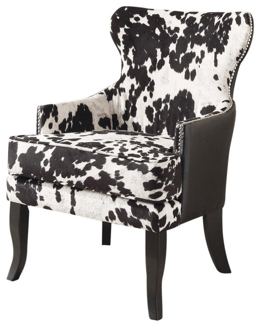 Faux Cowhide Fabric Accent Chair With Stud Detail, Black