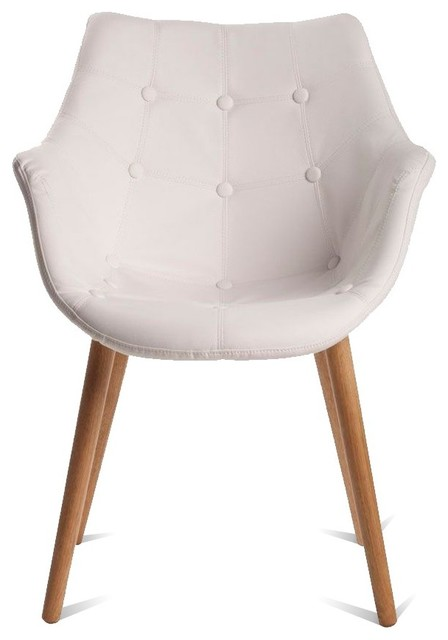 Chaise lounge capitonn e fa on cuir eleven couleur blanc for Chaise scandinave cuir