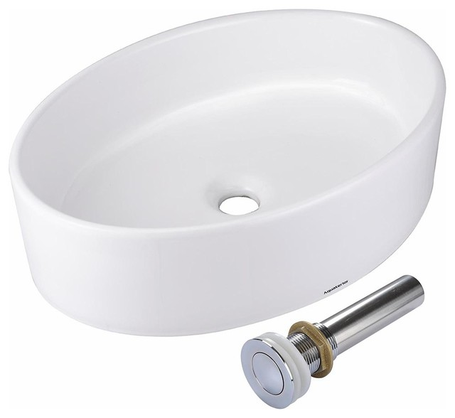 19 X14 X5 Oval Porcelain Ceramic Bathroom Vessel Sink With Pop Up Drain