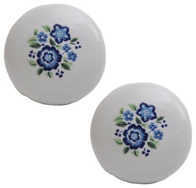Set of 5 Ceramic Knob Blue Colour Flower Print Round Cabinet Cupboard Wardrobe Knobs Drawer Pull