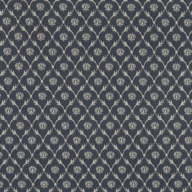 Navy Blue Trellis Jacquard Woven Upholstery Fabric By The