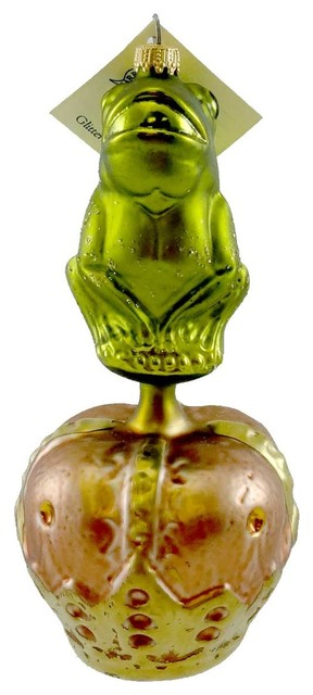 Crown Christmas Ornaments.Larry Fraga Frog Prince Blown Glass Ornament Crown 5033