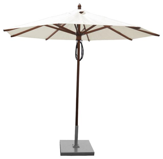 Greencorner 9&x27; Octagon African Mahogany Market Umbrella, Natural.