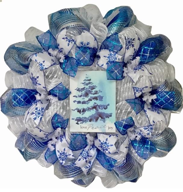 Love Peace Joy Deco Mesh Winter Or Holiday Wreath.