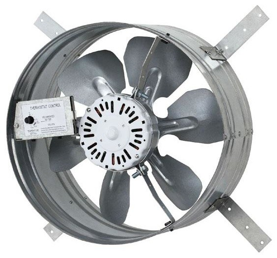 Automatic Gable Mount Attic Ventilator Fan With Adjustable Thermostat, 3.10 Amps.