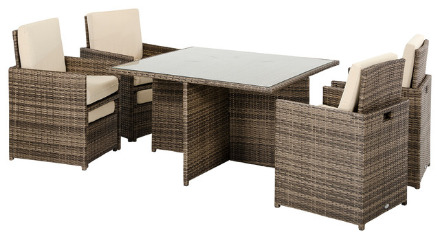 Barcelona Square Table 4 Fold Out Chairs And 4 Individual Ottomans, Patio  Set Modern