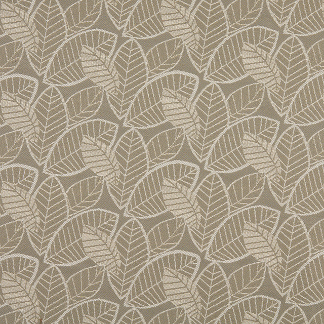Charming Gray And Beige Leaves Indoor Outdoor Upholstery Fabric By The Yard  Contemporary Outdoor Fabric