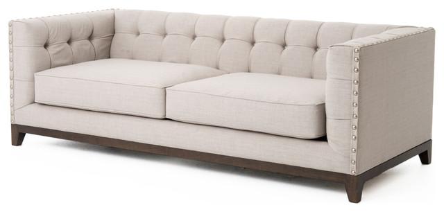 Bethune Modern Clic Tufted Straight Back Linen Sofa