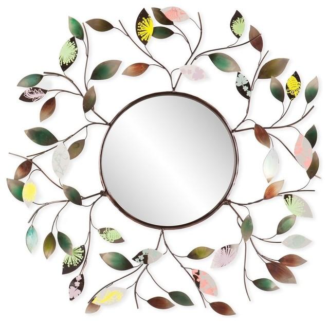 Decorative Metallic Leaf Wall Mirror.