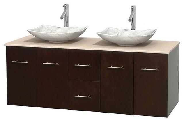 60 Eco Friendly Wooden Double Sink Bathroom Vanity In Espresso Contemporary Bathroom