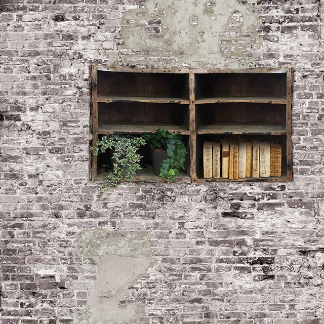 Books and Bricks Wallpaper, Grey, Shant Effect, 300x300 cm