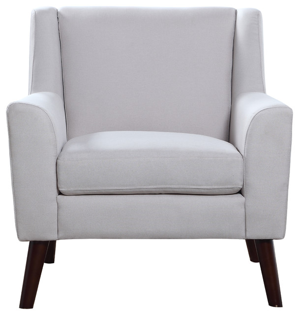 Mid Century Modern Fabric Living Room Accent Armchair , Beige Midcentury  Armchairs And