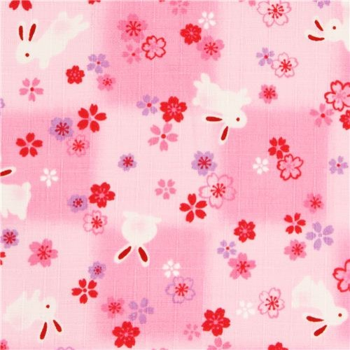 structured pink Kokka fabric with rabbits & cherry blossoms