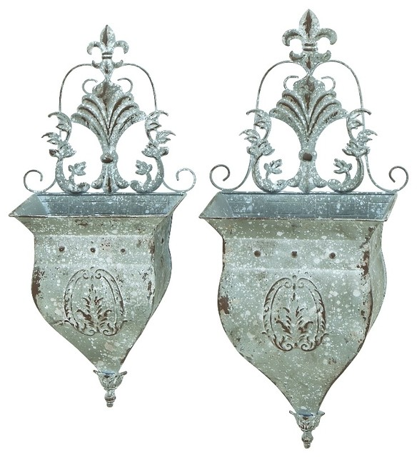 Set Of 2 Metal Wall Planters Fleur De Lis Dainty Home Patio Garden Decor 52744