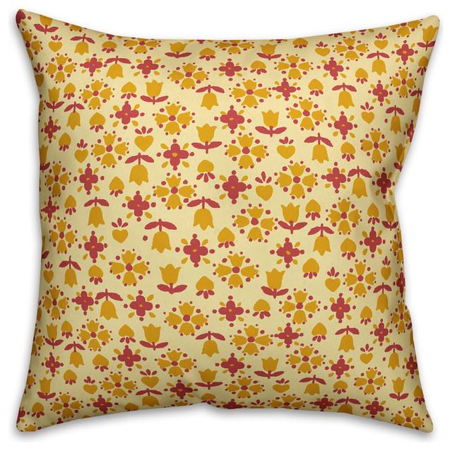 Yellow Outdoor Throw Pillows.Tulip Pattern Yellow Outdoor Throw Pillow 16 X16