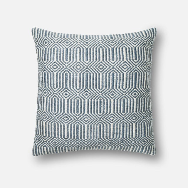 """Loloi Inc. Pillow, Blue And Ivory, 22""""x22""""."""