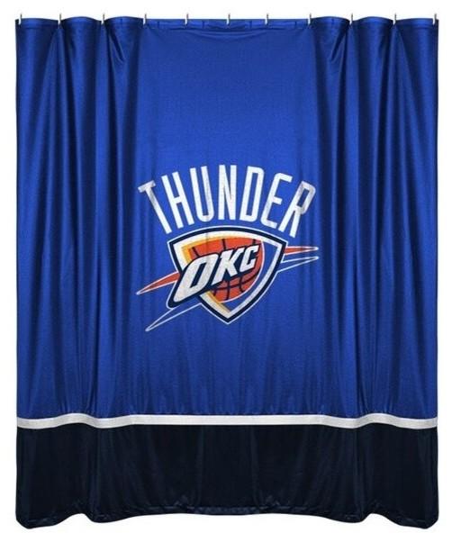NBA Sports Team Sidelines Shower Curtain Thunder