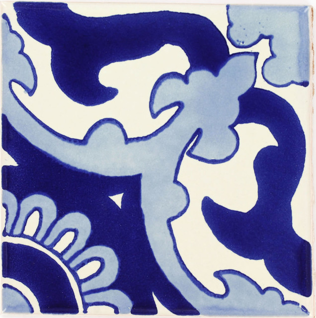"Tierra Y Fuego Handmade Ceramic Tile, 4.25x4.25"" Blue Capri, Box Of 90."