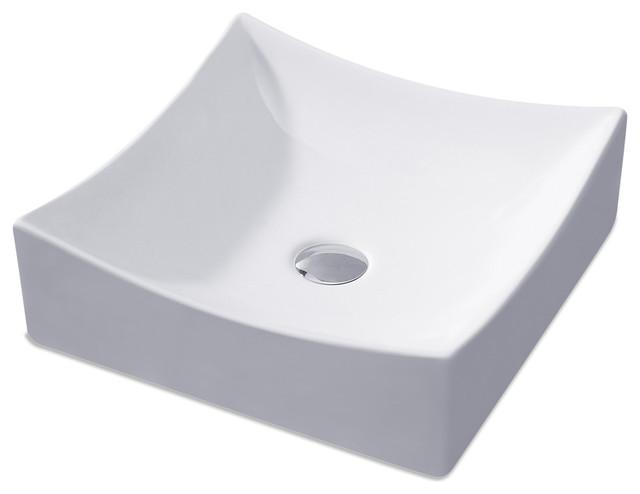 "Modern Square L-016 Ceramic Bathroom Vessel Sink, 15.5"", Chrome Drian"