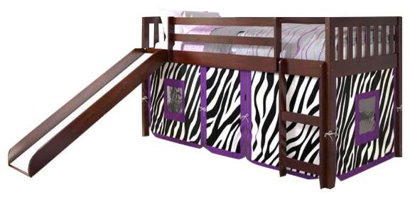 Twin Loft Bed With Slide Purple Zebra Tent Contemporary Kids