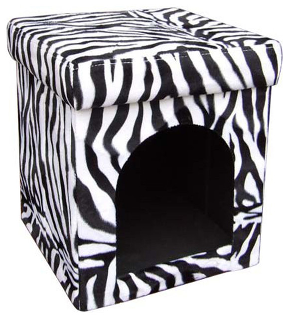 Magnificent 15 75 Tall Collapsible Pet House Dog Bed Zebra Patterned Design Inzonedesignstudio Interior Chair Design Inzonedesignstudiocom