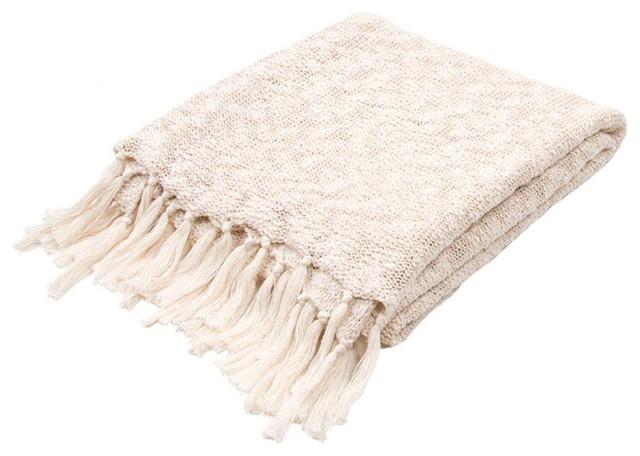 """Jaipur Gem Gem-02 50""""x60"""" Cotton Throw, Angora."""