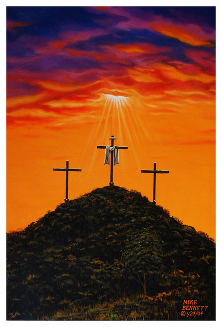 "Mike Bennett Three Crosses At Calvary Art Print, 24""x36"""