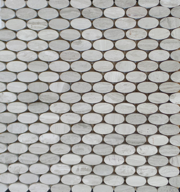 Polished Wood Gray Oval Shaped Mosaic Tile 15 Sheets Contemporary