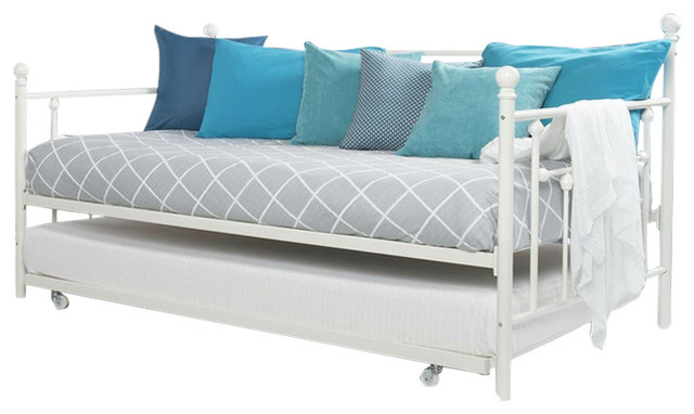 Twin Size White Metal Daybed With Roll-Out Trundle Bed.