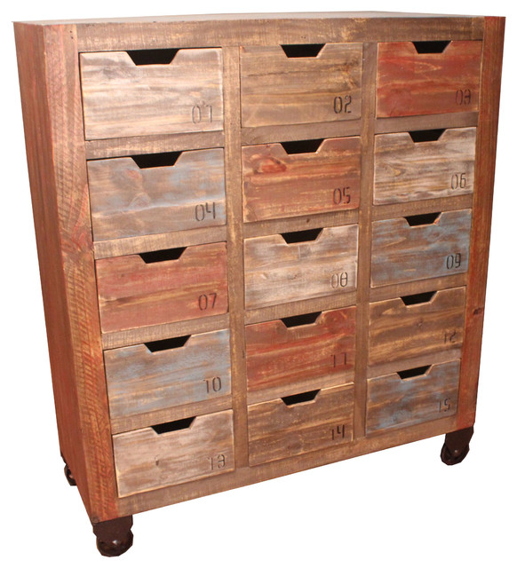 Countdown Cabinet With 15 Drawers Rustic Accent Chests