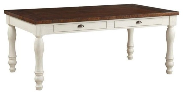 Traditional Wooden Dining Table with Four Drawers, Brown and White