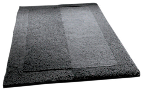 Contemporary Bathroom Mats slate gray thick plush reversible cotton bathroom rug, havana
