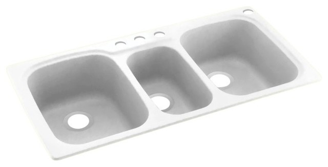 Swan 44x22x9 Solid Surface Kitchen Sink, 4-Hole, Tahiti White