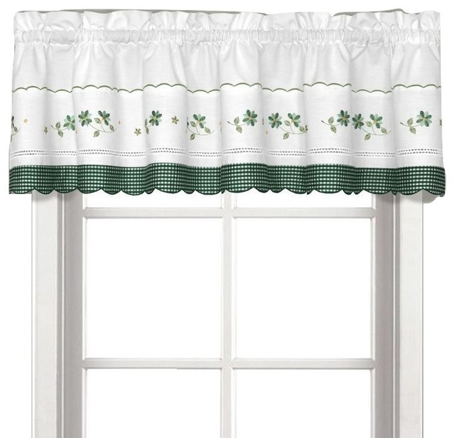 Gingham Green Floral Kitchen Curtain, Valance.