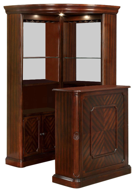 Voltaire Traditional Style Curio Corner Cabinet Bar Counter Table Set