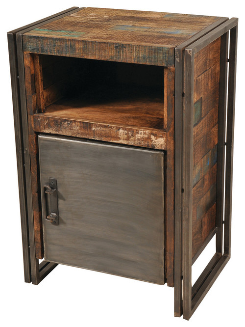 Reclaimed Wood And Metal 1 Door Cainet
