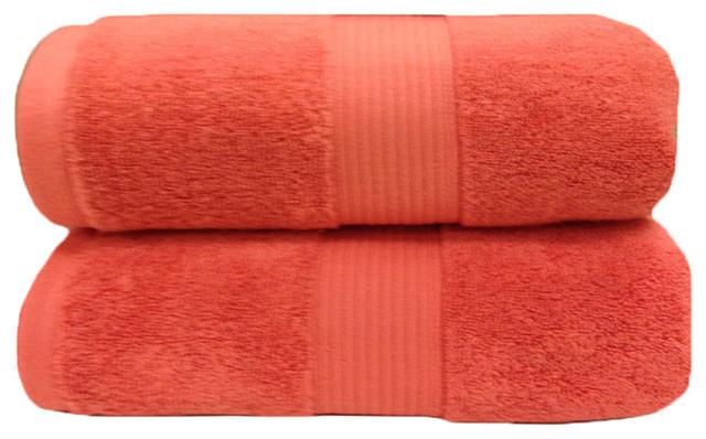 Plush 2PC Soft 100% Cotton Bath Sheets, Coral