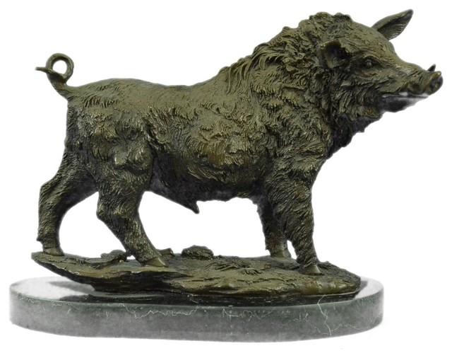 Bronze Sculpture Large Signed Barye Wild Boar Pig Art Deco