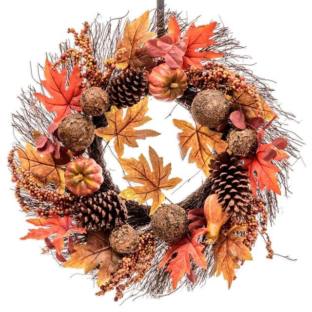 Rustic Fall Maple Leaves Wreath (fw123).