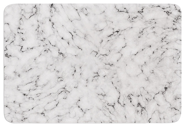 "Contemporary Bathroom Mats will wild ""marble"" white gray memory foam bath mat, 17""x24"