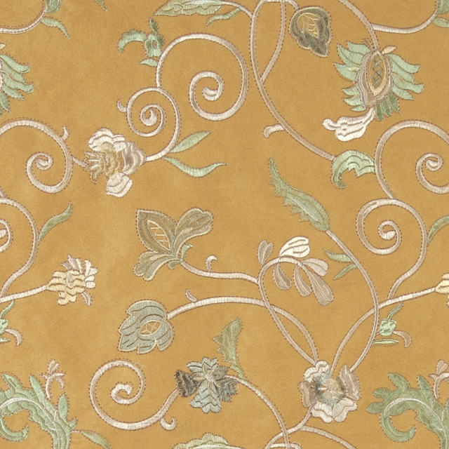 Gold Ivory Green Embroidered Floral Vines Suede Upholstery