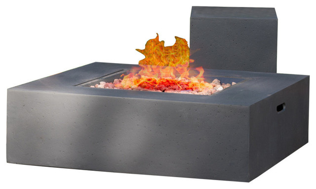 GDF Studio Hearth Square 50K BTU Gas Fire Pit Table With Tank Holder, Gray