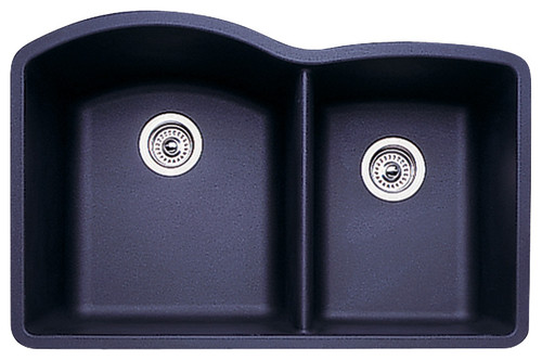 "Blanco 440179 80.8""x32"" Granite Double Undermount Kitchen Sink, Anthracite"