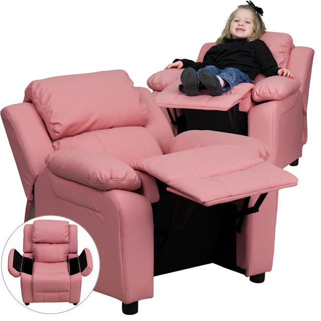 Deluxe Heavily Padded Contemporary Pink Vinyl Kids Recliner with Storage Arms contemporary-kids-chairs  sc 1 st  Houzz & Deluxe Heavily Padded Contemporary Kids Recliner with Storage Arms ... islam-shia.org