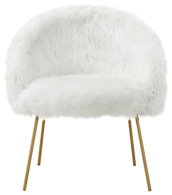 Amazing Connor Faux Fur Accent Chair Gold Powder Coated Metal Leg White Evergreenethics Interior Chair Design Evergreenethicsorg