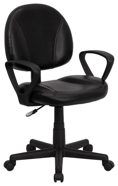 Home Office Mid-Back Black Leather Ergonomic Task Chair With Arms