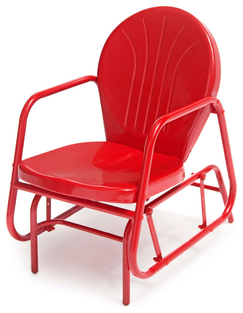 red retro modern classic outdoor patio glider chair with